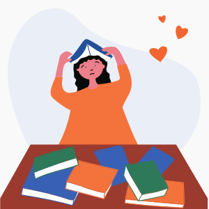 Drawing of woman surrounded by books looking overwhelmed