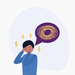 Person with thought bubble representing anxiety