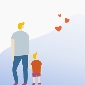 Flat art of man and boy holding hands with a blue wave and red love-hearts in the background