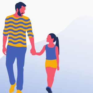 Illustration of man and young girl holding hands