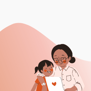 Illustration of mother and child reading together