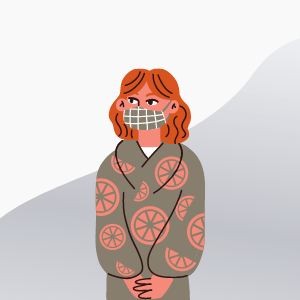 Illustration of woman wearing bathrobe and face mask