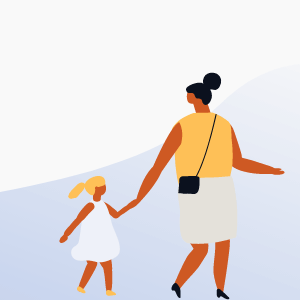 Illustration of woman and young girl holding hands