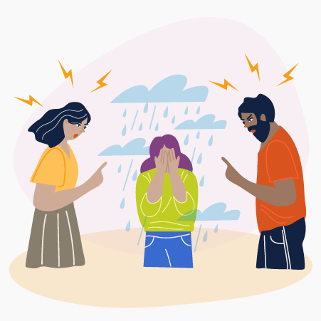 Illustration of a man and a woman reprimanding a teenage girl