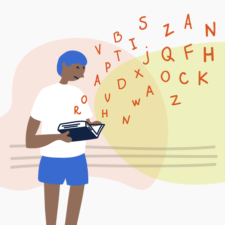 Illustration of a child reading surrounded by letters